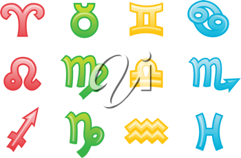 Royalty Free Clipart Image of Zodiac Icons