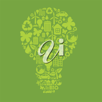 Royalty Free Clipart Image of an Ecological Light Bulb