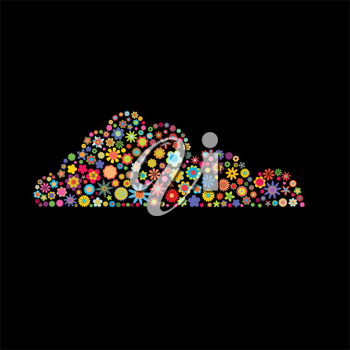 Royalty Free Clipart Image of a Floral Cloud