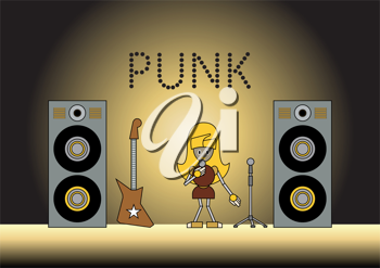 Royalty Free Clipart Image of a Robot Girl Singing