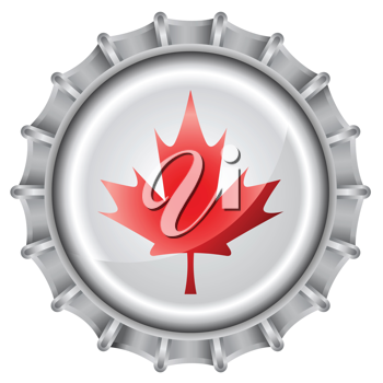 Royalty Free Clipart Image of a Canadian Maple Leaf Bottle Cap