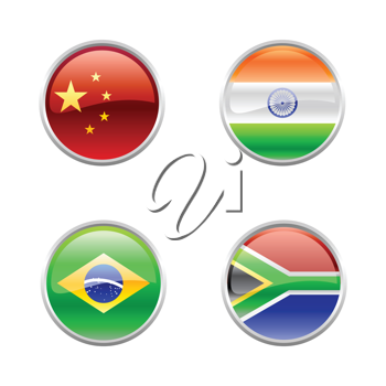 Royalty Free Clipart Image of World Flag Buttons
