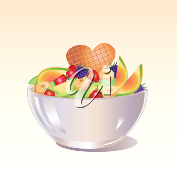 Royalty Free Clipart Image of a Fruit Salad