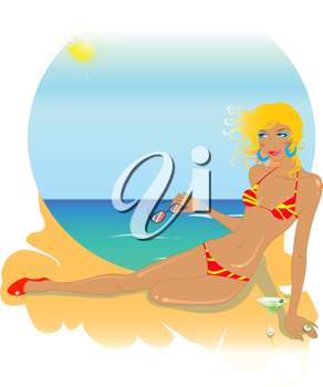 Royalty Free Clipart Image of a Woman at the Beach