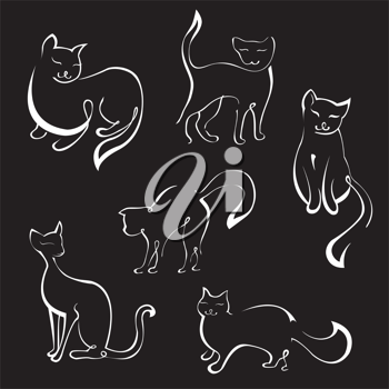 Royalty Free Clipart Image of Cat Silhouettes