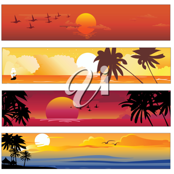 Royalty Free Clipart Image of Tropical Summer Banners