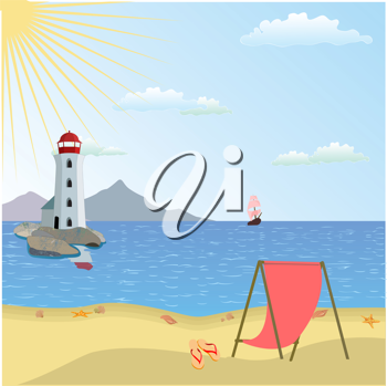 Royalty Free Clipart Image of a Lighthouse by a Beach