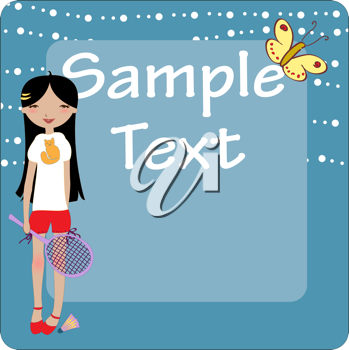 Royalty Free Clipart Image of a Girl Holding a Racket