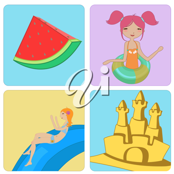 Royalty Free Clipart Image of Summer Designs