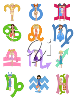Royalty Free Clipart Image of All Zodiac Signs