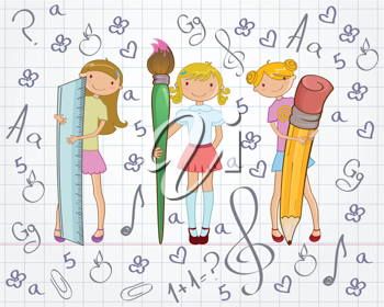 Royalty Free Clipart Image of Girls Holding School Supplies