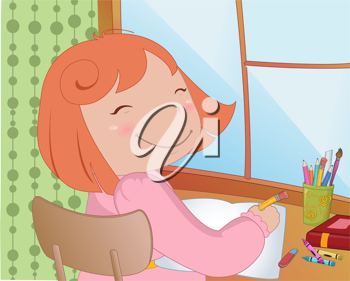 Royalty Free Clipart Image of a Girl Writing in a Book