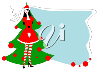 Royalty Free Clipart Image of a  Woman by a Christmas Tree