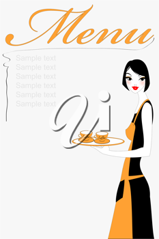 Royalty Free Clipart Image of a Waitress Holding a Tray