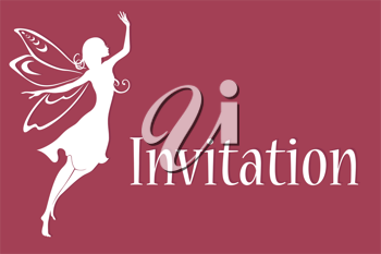 Royalty Free Clipart Image of a Fairy on an Invitation