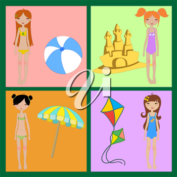 Royalty Free Clipart Image of a Set of Summer Icons