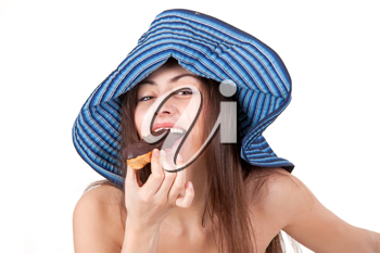 Royalty Free Photo of a Woman Eating Cake
