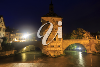 Obere bridge (brücke) and Altes Rathaus at night in Bamberg, Germany