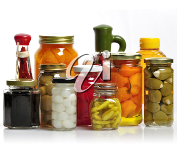 Royalty Free Photo of Glass Jars Of Preserved Fruits And Vegetables