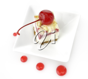 Royalty Free Photo of a Slice of Cherry Cheesecake