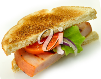 sandwich with grilled ham close up