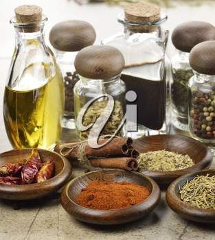 Assortment Of Spices Cooking Oil And Vinegar