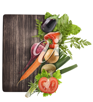 Cutting Board And Vegetables Isolated On White Background