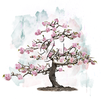 Watercolor Image Of Pink Blossoming Tree