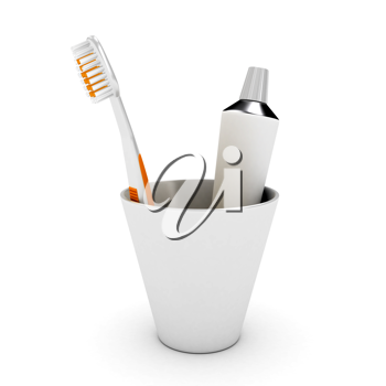 Royalty Free Clipart Image of a Toothbrush and Toothpaste