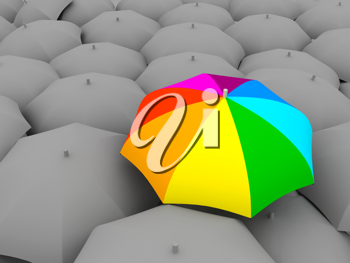 Royalty Free Clipart Image of a Bunch of Umbrellas