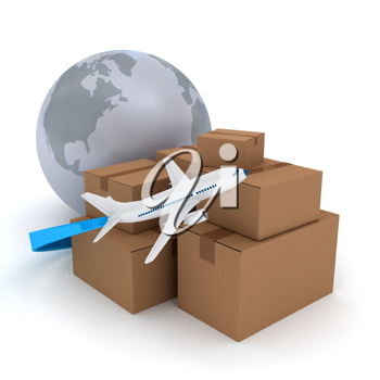 Royalty Free Clipart Image of an Airplane and Boxes