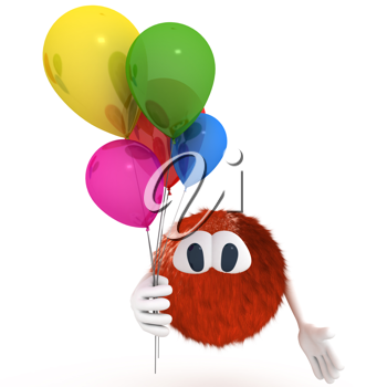 Royalty Free Clipart Image of a Character Holding Balloons
