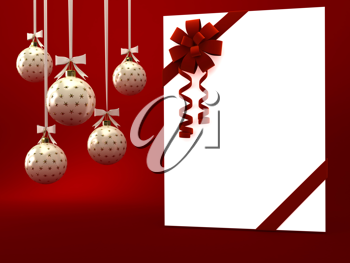 Royalty Free Clipart Image of a Present and Christmas Ornaments