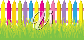 Royalty Free Clipart Image of Grass and a Coloured Fence
