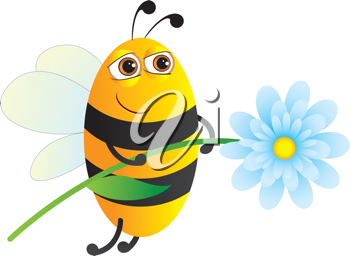 Royalty Free Clipart Image of a Bee With a Flower