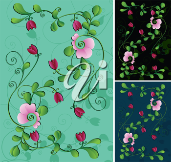 Royalty Free Clipart Image of Floral Backgrounds
