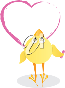 Royalty Free Clipart Image of a Chick Drawing a Heart