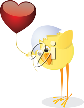 Royalty Free Clipart Image of a Chick With a Heart