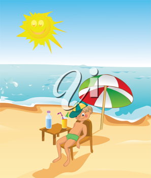 Royalty Free Clipart Image of a Boy on the Beach