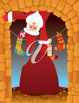 Santa Claus in the fireplace on Christmas eve