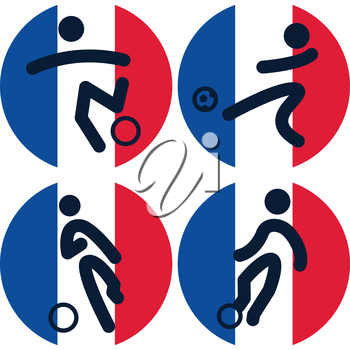 Set of football icons on French flag background
