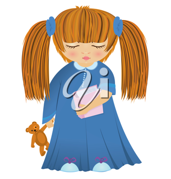 Royalty Free Clipart Image of a Sleepy Girl Holding a Book