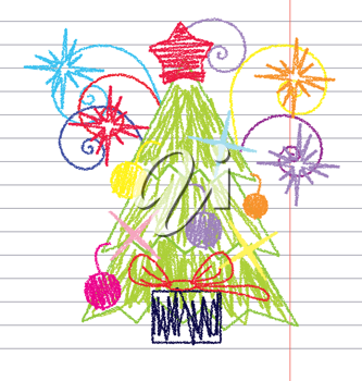 Royalty Free Clipart Image of a Drawing of a Christmas Tree