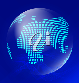 Blue transparent globe with line waves on dark blue background. Gradient is used to create smooth background colors.