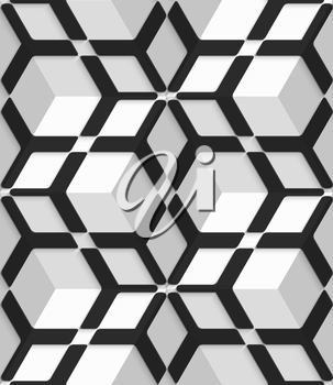 Abstract 3d geometrical seamless background. White 3d cubes with hexagonal net on top.