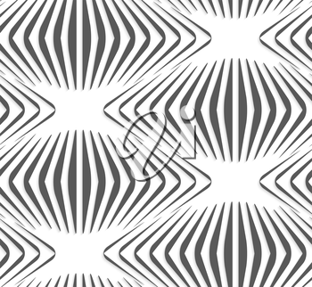 White and gray background with cut out of paper effect. Modern 3D seamless pattern.Paper cut out vertical gray onion shapes.