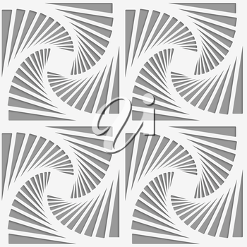 Modern seamless pattern. Geometric background with perforated effect. Shadow creates 3D texture.Perforated striped rotated triangular shapes.