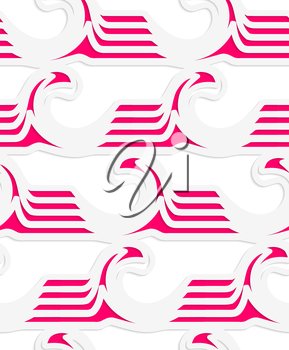 Abstract seamless background with 3D cut out of paper effect. Pattern with realistic shadow. Modern texture. Stylish backdrop.White colored paper magenta striped waves.