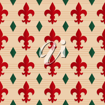 Retro fold red Fleur-de-lis and green diamonds.Abstract geometrical ornament. Pattern with effect of folded paper with realistic shadow. Vintage colored simple shapes on textured background.