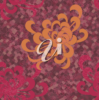 Aster flower orange and red on colored mosaic.Seamless pattern. Floral fabric collection.